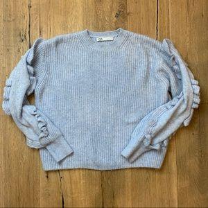 ZARA Light Blue Ruffle Sleeve Knit Sweater